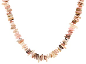 Pink opal chip sterling silver necklace