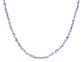 Purple Rose de France amethyst silver bead necklace 37.20ctw