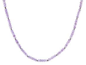 Purple lavender amethyst silver bead necklace 37.20ctw