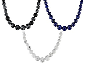 Blue lapis lazuli, howlite and obsidian set of 3 silver necklaces