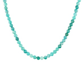 Blue amazonite bead strand sterling silver necklace