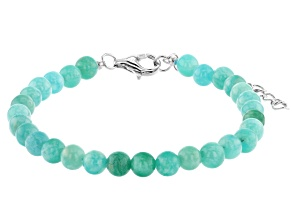 Blue amazonite bead strand sterling silver bracelet
