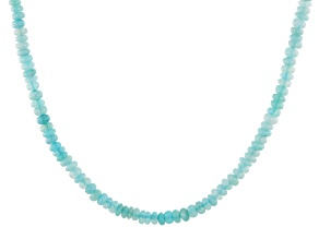 Blue opal bead strand silver necklace