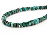 Blue chrysocolla bead sterling silver necklace