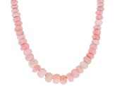 Pink opal sterling silver bead necklace