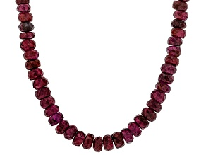 Raspberry color rhodolite silver bead necklace