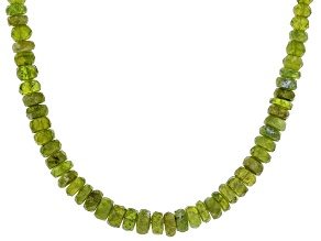 Green vesuvianite sterling silver bead strand necklace