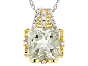 Green prasiolite rhodium over silver two tone pendant with chain 5.79ctw