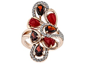 Red Sponge Coral 18k Rose Gold Over Silver Ring 2.01ctw