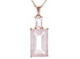 Pink rose quartz 18k rose gold over silver pendant with chain