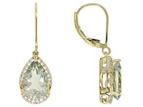 Green prasiolite 18k gold over silver earrings 5.10ctw