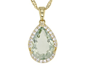 Green prasiolite 18k gold over silver pendant with chain 4.66ctw