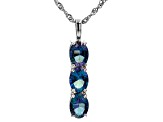 Blue petalite rhodium over sterling silver pendant with chain 2.44ctw