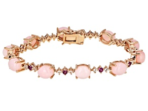 Pink Opal 18k Rose Gold Over Silver Bracelet 1.16ctw
