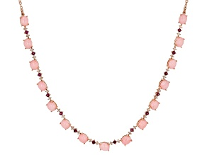 Pink Peruvian Opal 18k Rose Gold Over Silver Necklace 1.65ctw