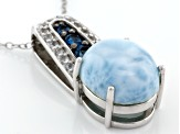 Blue Larimar Rhodium Over Silver Pendant With Chain .23ctw