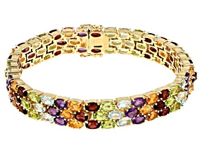 Multi-gemstone 18k gold over silver bracelet 24.95ctw