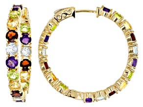 Multi-gemstone 18k gold over silver hoop earrings 8.12ctw