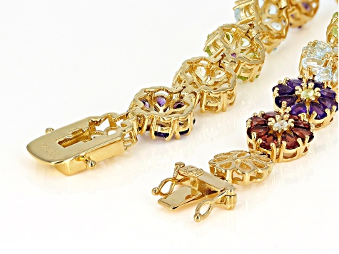 Multi-Gem 18k Gold Over Silver Floral Bracelet 12.08ctw