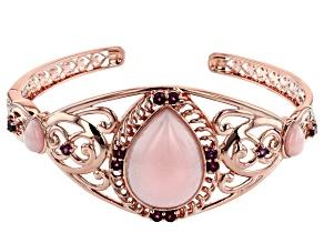 Pink Peruvian opal 18k rose gold over silver cuff bracelet 1.76ctw