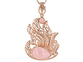 Pink Peruvian opal 18k rose gold over silver peacock  pendant with chain