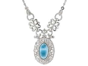Blue larimar rhodium over sterling silver necklace