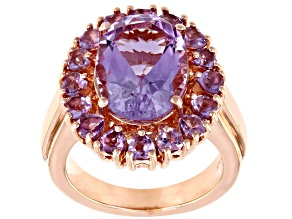 Lavender Amethyst 18k Rose Gold Over Silver Ring 5.95ctw