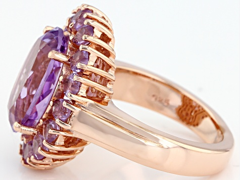 Purple Rose de France Amethyst 18k Rose Gold Over Silver Ring 5.95ctw