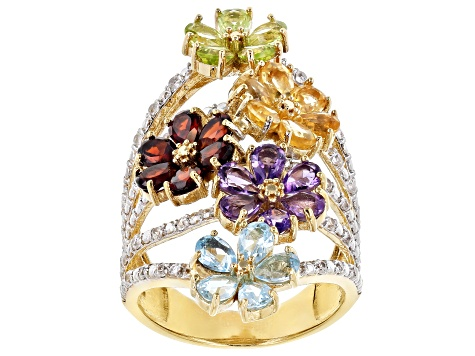 Multi-Gemstone 18k Gold Over Silver Ring 5.36ctw