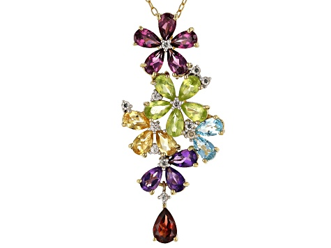 Multi-Gemstone 18k Gold Over Silver Pendant With Chain 4.18ctw