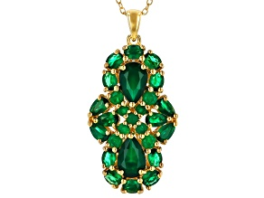 Green Onyx 18k Gold Over Silver Pendant With Chain 4.25ctw