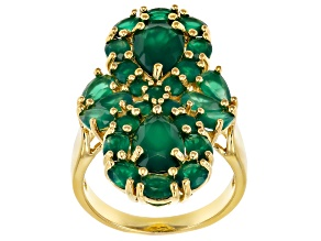 Green Onyx 18k Gold Over Silver Ring 4.25ctw