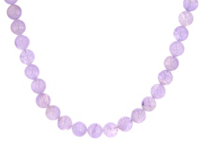 Lavender amethyst bead rhodium over silver necklace