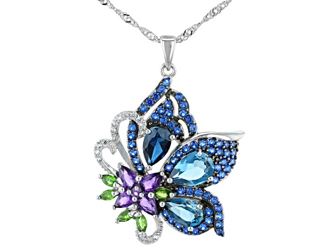 London Blue Topaz Rhodium Over Silver Pendant with Chain 4.91ctw