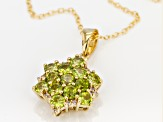 Green vesuvianite 18k yellow gold over sterling silver pendant with chain 1.54ctw
