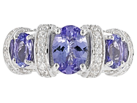 Blue tanzanite rhodium over sterling silver ring 2.44ctw