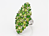 Green chrome diopside rhodium over silver ring 7.90ctw
