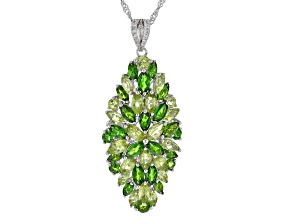 Green chrome diopside rhodium over silver pendant with chain 8.05ctw