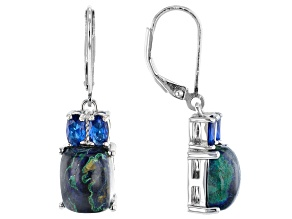 Blue azurmalachite rhodium over silver earrings .67ctw