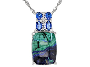 Blue azurmalachite rhodium over silver slide with chain .70ctw