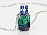 Blue azurmalachite rhodium over silver pendant with chain .70ctw