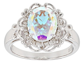 Multi-color Mercury Mist(R) topaz rhodium over silver ring 2.86ctw