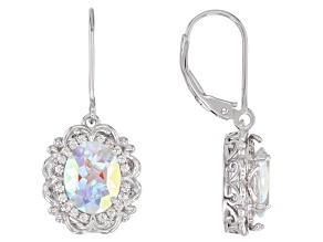 Multi-color Mercury Mist(R) topaz rhodium over silver earrings 4.11ctw