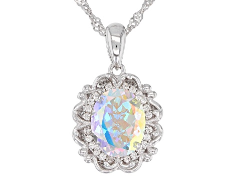 Multi-color Mercury Mist(R) rhodium over silver pendant with chain 2.86ctw