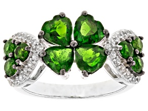 Green chrome diopside rhodium over silver ring 2.68ctw