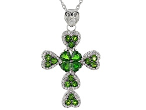 Green chrome diopside rhodium over silver cross pendant with chain 4.31ctw