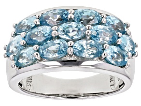 Blue zircon rhodium over silver ring 4.21ctw