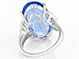 Blue color change fluorite rhodium over silver ring 11.12ctw
