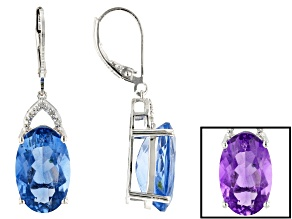 Blue color change fluorite rhodium over silver earrings 13.64ctw