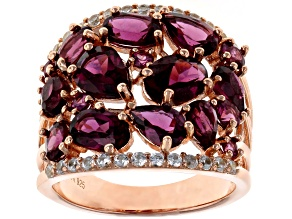 Raspberry color rhodolite 18k gold over silver ring 5.68ctw